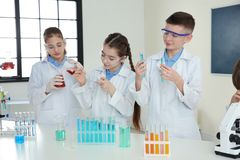 Pupils making experiment in chemistry class. Smart pupils making experiment in chemistry class stock image