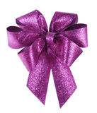 Smart purple bow on white Stock Image