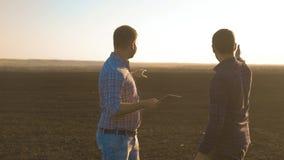 Smart que cultiva a dos granjeros que usan tecnologías modernas en agricultura Granjero del agrónomo del hombre con la tableta di metrajes