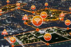 Smart raster, stad som levereras med internet av saker vektor illustrationer