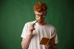 Smart readhead bearded student in glasses reading the notes with Stock Photography