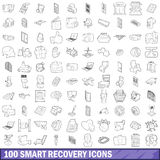 100 smart recovery icons set, outline style. 100 smart recovery icons set in outline style for any design vector illustration Stock Image