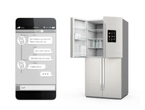 Smart refrigerator with LCD screen for monitoring Stock Photos