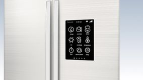 Smart refrigerator with LCD touch screen. stock video