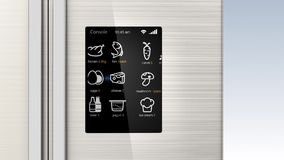 Smart refrigerator with LCD touch screen. stock footage