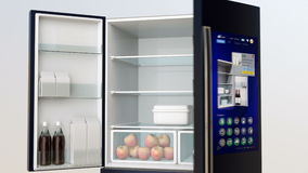 Smart refrigerator with touch screen royalty free illustration