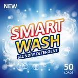 Smart ren design för tvålbanerannonser Ny ren mall för tvätteritvättmedel Packe för tvagningpulver eller för vätsketvättmedel vektor illustrationer