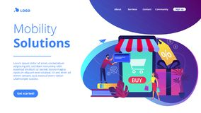 Smart retail in smart city concept illustration. royalty free stock photos