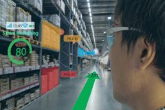 Smart retail concept, A customer can check what data of real time insights into shelf status which report on a smart glasses from. Artificial intelligenceai royalty free stock photography
