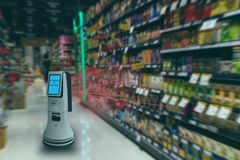Smart retail concept, robot service use for check the data of or Stores that stock goods on shelves with easily-viewed barcode and. Prices or photo compared stock photography