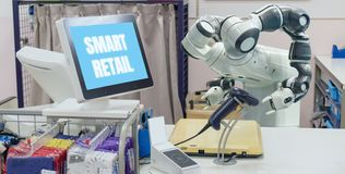 Smart retail in futuristic technology concept the receptionist robot robot assistant in cashier check always welcome customer t. He service is including payment stock photography