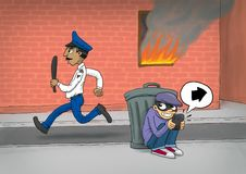 Smart Riot Criminal. A criminal hiding from the police chase, while giving instructions to his friend using a smartphone Stock Images