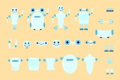 Smart robot character creation. Set with various views, poses and gestures in cartoon style. Flat vector illustration eps 10 Royalty Free Stock Image