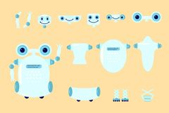 Smart robot character creation. Set with various views, poses and gestures in cartoon style. Flat vector illustration eps 10 Stock Images