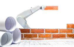 Smart robot industry 4.0 arm brick building construction plan. Smart robot industry 4.0 arm brick building construction a plan royalty free stock photography