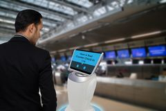 Smart robotic technology concept, The passenger follow a service stock photography