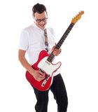 Smart rock guitar player at his best Royalty Free Stock Images