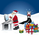 Smart Santa Claus. Ordering gifts on the internet Stock Image