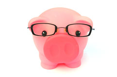 Smart Savings. A pink piggy bank with a pair of specs (glasses) isolated on white background royalty free stock photos