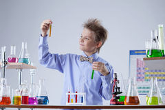 Smart school boy looks at reagents in test tubes Royalty Free Stock Image