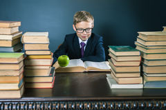 Smart school boy reading a book at library Stock Images