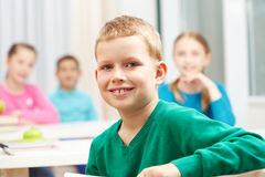 Smart schoolboy. Cute lad looking at camera on background of his classmates Stock Photography