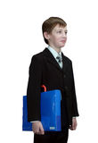 Smart schoolboy with folder Stock Photos