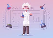 Smart scientist character. Cartoon vector illustration. Doctor is researching. Or doing an experiment on a screen. Science and technology concept royalty free illustration