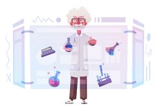 Smart scientist character. Cartoon vector illustration. Doctor is researching. Or doing an experiment on a screen. Science and technology concept vector illustration