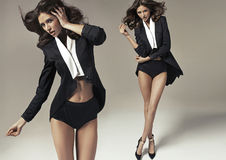 Smart and shapely brunette lady in two sensual poses Royalty Free Stock Photos