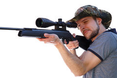 Smart shooter aiming telescopic rifle Royalty Free Stock Images