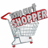 Smart Shopper Red 3d Words Shopping Cart Comparison Sale Buyer Stock Image