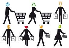 Smart shopper, vector icon set Royalty Free Stock Photos