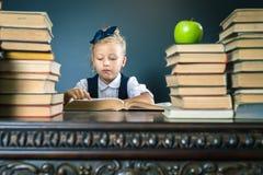 Smart skolaflicka som läser en bok på arkivet Royaltyfri Fotografi