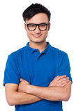 Smart smiling guy wearing spectacles Stock Photos
