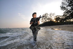 Smart Soldier Attempting Beach Assaults royalty free stock photo