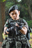 Smart Soldier Defending The Country Royalty Free Stock Photography