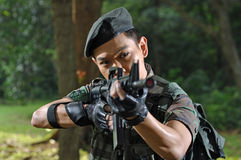 Smart Soldier Defending The Country Stock Photography