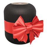 Smart speaker with bow and ribbon, gift concept. 3D rendering vector illustration