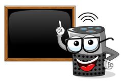 Smart speaker cartoon funny blank blackboard or chalkboard isolated. On white vector illustration