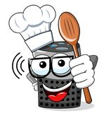 Smart speaker cartoon funny character cook isolated. On white stock illustration
