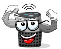 Smart speaker cartoon funny character showing biceps isolated. On white stock illustration