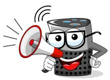 Smart speaker cartoon funny character speaking megaphone isolated. On white vector illustration