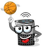 Smart speaker cartoon funny character spinning basketball isolated. On white stock illustration