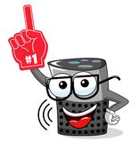 Smart speaker cartoon funny character supporter fan number one glove isolated. On white royalty free illustration