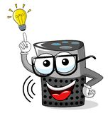 Smart speaker cartoon funny idea innovation lightbulb isolated. On white vector illustration