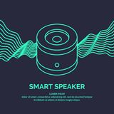 Smart speaker for the control and management of the house. Vector line illustration. Stock Photo