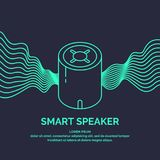 Smart speaker for the control and management of the house. Vector line illustration. Royalty Free Stock Images