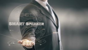Smart Speaker with hologram businessman concept stock illustration