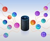 Smart speaker for smart home control. Icons on colorful gradient. Voice control gadget of your house. Intelligent voice activated assistant. Isolated object vector illustration